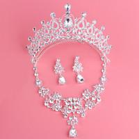 Twinkling Baroque Nupcial Corona Collar Pendientes Set Tiaras Floral Accesorios de la joyería nupcial Conjuntos del banquete de boda S006