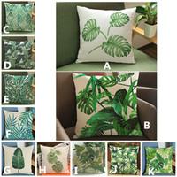 2017 yeni Yeşil yaprak tropikal bitkiler baskılı yastık kapak Ev Kanepe keten pamuk kadife yastık kılıfı 45 * 45 cm