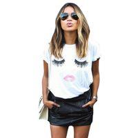 Großhandel- Fashion FancyQube Damen T-Shirt 2016 Weiß Lose Rundhalsausschnitt Kurzarm Sommer Tops Nette Wimpern Lippen Drucken Femininas Blusas