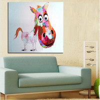 Framed Big Head Horse, Pure Hand Painted Modern Wall Decor Po...