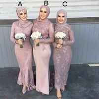 2020 Высокое Качество Сатин С Длинным Рукавом Мусульманские Платья Подружки невесты с Hijab Кружева Аппликация Оболочка Свадьба Гости Дама-де-Хонра Взрослый