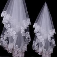 2019 pas cher voile de mariée 1,5 m blanc unique dentelle tulle applique bord bridals accessoires livraison gratuite