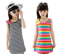 Summer Girls Dresses Cotton Casual Children Clothing Sleevel...
