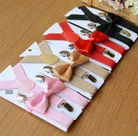 Ensemble de nœud papillon pour enfants avec bretelles 32colors pour bébé accolades 1-10T élastiques Y-dos garçons filles bretelles accessoires