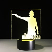 2017 Rick Walking Dead 3D Illusion Night Lamp 3D Optical Lam...