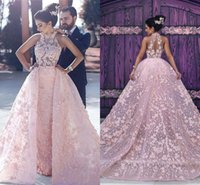 2018 Sexy Pink A Line Wedding Dresses High Neck Illusion Lac...