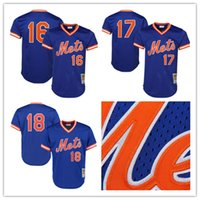 Hommes Retro New York Mets # 16 Dwight Gooden Jersey # 17 Keith Hernandez Jersey # 18 Darryl Strawberry Jersey Maillots de baseball à mailles cousues