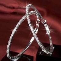 Tasarımcı Hoop Küpe 925 Ayar Gümüş 3 cm / 5 cm Daire Zarif Küpe Takı Hediyeler Kadınlar Trendy Elmas Kristal