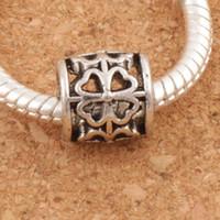 Tube Trèfle Rond En Métal Big Hole Beads 122pcs / lot 9x9x9 mm Antique Argent Fit Européen Bracelets Bijoux DIY L1392