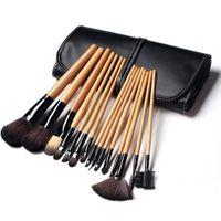 15 جهاز كمبيوتر شخصى لينة الشعر الاصطناعية أدوات المكياج طقم فرشاة التجميل فرشاة ماكياج مجموعات مع حقيبة جلدية لون الخشب الأسود