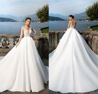 Milla Nova Sheer Long Sleeves 레이스 Appliqued 새틴 웨딩 드레스 덮여 버튼 여름 해변 보헤미안 웨딩 드레스 Vestidos de Noiva