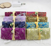 5pcs al por mayor baratos de la vendimia hecha a mano de seda china Jade joyería bolsa bolsa regalo