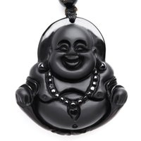 NEW Natural Obsidian necklace Fashion black smile Maitreya B...