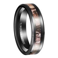 Queenwish 6mm / 8mm schwarz Wolfram Ring Camouflage Jagd Damen Herren schwarz Wolfram Ring Camo poliert Hochzeit Band antiken Schmuck