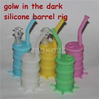 bagliore all'ingrosso al buio Silicon Oil Drum Rigs Mini silicone Rigs Bong tubo di vetro acqua DHL spedizione gratuita