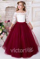 Spets 2016 halv ärmar tulle blomma flicka klänningar vintage blomma flicka bröllopsklänningar barn pageant klänningar