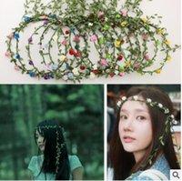 Viaggi Spiaggia Foglie Rattan Ghirlande colorate Matrimonio Damigella d'onore Fascia per capelli Corona di fiori Testa di Boemia Accessorio per capelli per ragazza di fiore