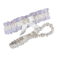 Kostenloser Versand Weiß Elfenbein Hochzeit Bein Strumpfbänder Elastische Spitze Sexy Feminine Kristalle Bogen Frauen Lady Sheer Vintage Braut Zubehör