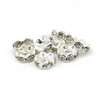 100Pcs Crystal Wave Edge Rondelle Spacer Bead bianco chiaro strass placcato argento 6mm, 8mm, 10mm, 12mm per fare il braccialetto europeo, IA02-01