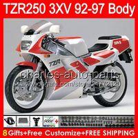 8Gifts Body for Yamaha Tzr-250 3xv TZR 250 92 93 94 95 96 97 광택 화이트 88no4 ypvs TZR250 1992 1993 1994 1995 1996 1997 흑백 페어링