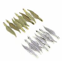 2 Color 200pcs metal mini Feather Charms Antique silver bron...