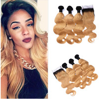 Brown Blonde Indian Remy Human Hair Body Wave Ombre 3 Bundle...