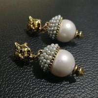 Neue Marke Vintage Perle Leopard Ohrstecker Für Frauen Modeschmuck Metall Ohrring Anhänger Antique Gold Brincos Weibliche Bijoux