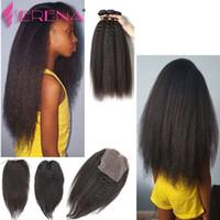 Virginal peruano afro rizado rizado recto Yaki armadura del cabello humano con cierre italiano luz Yaky Hair Bundles con cierres de encaje