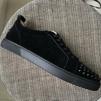 New Arrival mens womens black suede with black spikes toe lo...