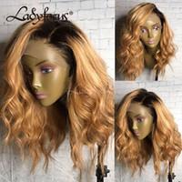 Prepucked Volle Spitze Menschenhaarperücken mit Babyhaar 150% Natürliche Welle Spitze Front Honig Blonde Perücke Für Schwarze Frauen