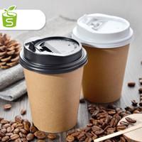100PCS Engångs 12-oz Hot Beverage Cups med svart lock Design Perfekt för kaféer Eco Friendly Isulated Paper Cup Gratis frakt (7)