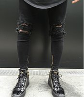 Autumn Fashion New Men Ripped Holes Jeans Distressed Black P...