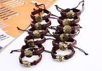 Regalo del partito braccialetti di cuoio donne Vintage Wrap zodiacale Scorpione Capricorno 12 costellazioni Leone Sagittario Bracciale in pelle per gli uomini gioielli
