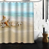 pvc modern ecofriendly wholesale new custom designed seashell seashells beach scene fabric shower curtain 48x72 60x72 66x72 inch