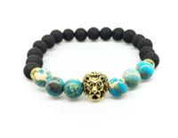 2017 new 8mm natural stone volcanic rock lion head beaded beads of foshan hand chain yoga bracelet