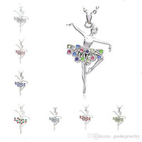 القلائد وصول جديدة للنساء أزياء ملونة كريستال قلادة سبائك الماس الباليه فتاة قلادة الشحن المجاني