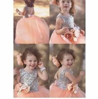 Backless Pullu Dantel Özel Sevimli Küçük Çiçek Kız Elbise Kat Uzunluk El Yapımı Çiçekler Yaylar Çocuklar Balo Doğum Günü Elbise Ucuz 53