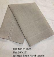 """Accueil Textile Style américain classique12PCS / lot 14 """"x22"""" serviette en lin couleur avoine"""