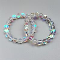 Braccialetto di perle di quarzo bianco aura mystic da 10 mm, bracciale elastico, bracciale di pietre preziose, bracciale di perline, perline di pietra opache o lucide