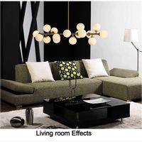 Ücretsiz Kargo Moden Art Kolye Işık Altın / Siyah Sihirli Fasulye LED Lamba Oturma Yemek Odası Dükkan LED Striplight Cam Kolye Lamba Armatürleri