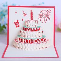 Tebrik Kartları Doğum Günü Partisi Doğum Günü Partisi Süslemeleri Şekeri 90 Derece 3D Doğum Günü Pastası Pop Up Kartları Tebrik Kartı