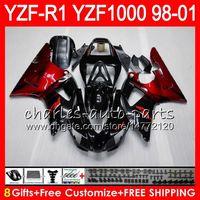 8Gift 23Color Body Per YAMAHA YZF1000 YZFR1 98 99 00 01 YZF-R1000 61HM3 TOP rosso nero YZF 1000 R 1 YZF-R1 YZF R1 1998 1999 2000 2001 Carena