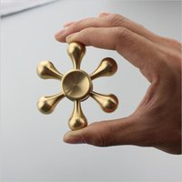 Six Arm Silver Golden Brass EDC Fidget Spinner à main 3D Focus Bearing Torqbar Toys Anxiety Stress Adult Kid Metal Spinner