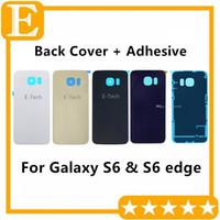 Pil Kapı Arka Kapak Cam Konut + Yapıştırıcı Sticker Samsung Galaxy S6 G920 G920F G920T vs S6 kenar G925 G925F G925T 20 adet / grup