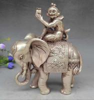 Colección Décorez Vieux Tibet Argent Singe Tenir Joint Agent Éléphant Statue