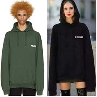 Wholesale- Autumn Sweatshirt Oversized Green Polizei 16ss Emb...