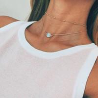 Довольно натуральный хрустальный кулон Choker ожерелье многослойные шарики бого сплава золото короткие цепи женские ювелирные изделия модные аксессуары