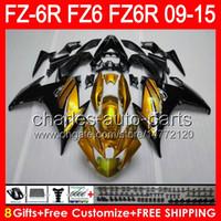 8gifts For YAMAHA FZ6R 09 10 11 12 13 14 15 FZ6N FZ6 gloss golden 89NO77 FZ-6R FZ 6R 2009 2010 2011 2012 2013 2014 2015 golden black Fairing