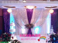 Топ роскошный свадебный фон 3x6M (10ftx20ft) Серебряный фиолетовый блестки партии фон занавес этап свадебные украшения бесплатная DHL