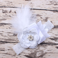 Girl Feather Headband Children Sparking Rhinestone Flower La...
